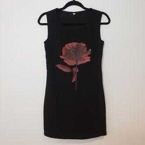 Unbranded Black Tank Shift Dress Floral Graphic